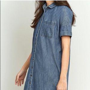BDG Blue Chambray Button Down Shirt Dress Pockets